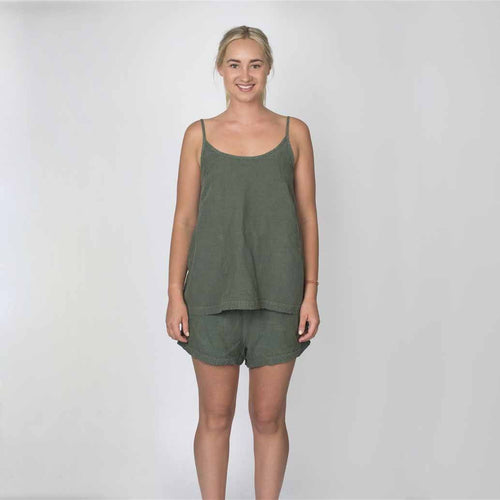 The Linen Camisoles - Khaki - Eadie Lifestyle