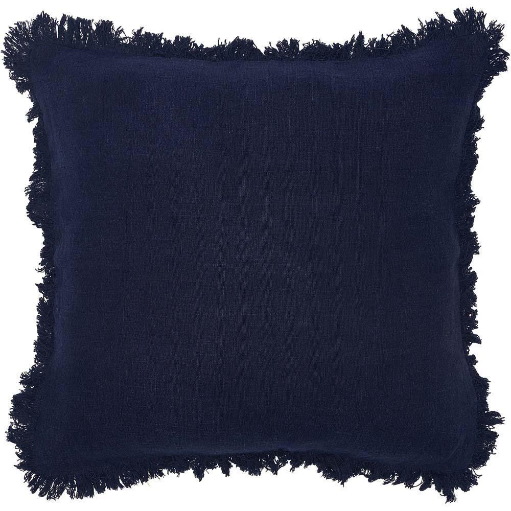 luca boho cushion linen fringe finish plump feather insert navy by eadie lifestyle