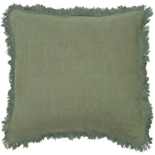 luca boho cushion linen fringe finish plump feather insert sage by eadie lifestyle