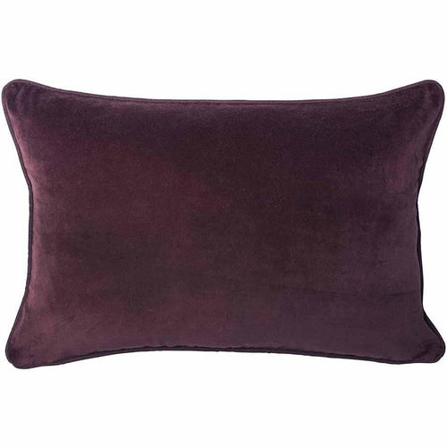 lynette cushion cotton velvet linen piping finish plump feather insert burgundy by eadie lifestyle