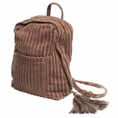 mode back bag cotton ribbed velvet with tassel desert rose by eadie lifestyle