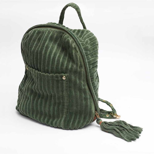 mode back bag cotton ribbed velvet with tassel khaki by eadie lifestyle