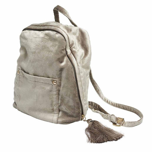 mode back bag cotton ribbed velvet with tassel natural by eadie lifestyle