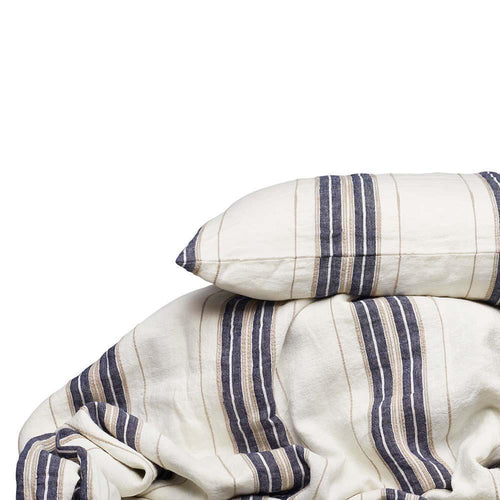 oxford bedding yarn dyed striped linen duvet pillowcases white navy natural by eadie lifestyle