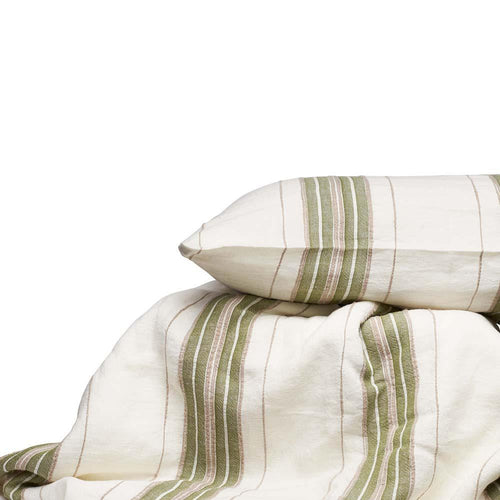oxford bedding yarn dyed striped linen duvet pillowcases white sage natural by eadie lifestyle