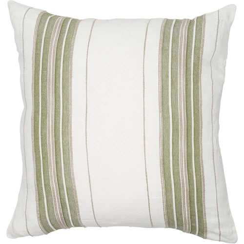 oxford cushion yarn dyed striped linen white sage natural feather insert square by eadie lifestyle