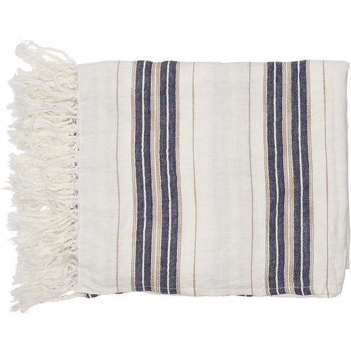 oxford throw yarn dyed striped linen white navy natural with tassels rectangle by eadie lifestyle