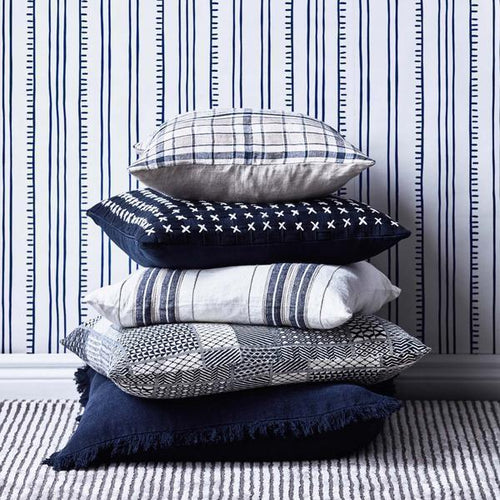 oxford cushion yarn dyed striped linen white navy natural feather insert square by eadie lifestyle