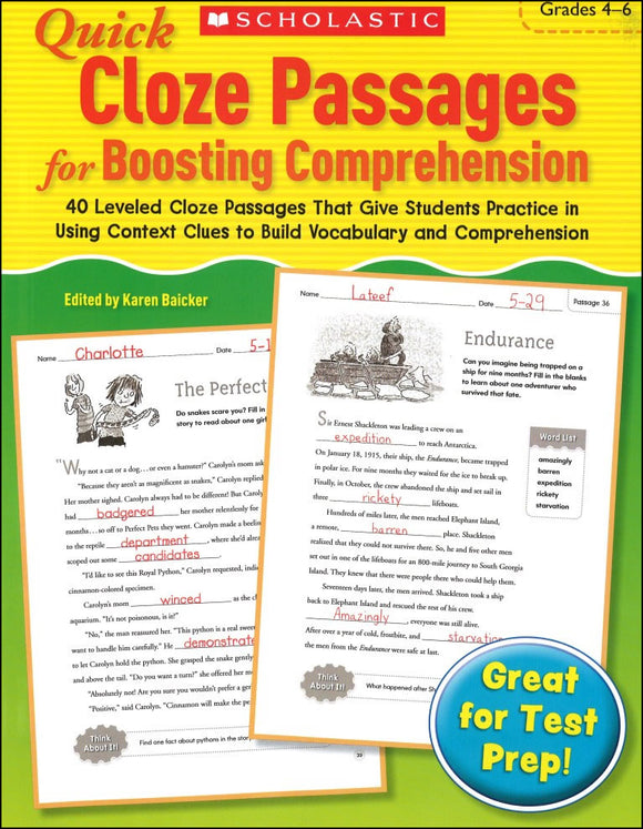 Quick Cloze Passages for Boosting Comprehension: Grades 4-6 </br> Item: 301107