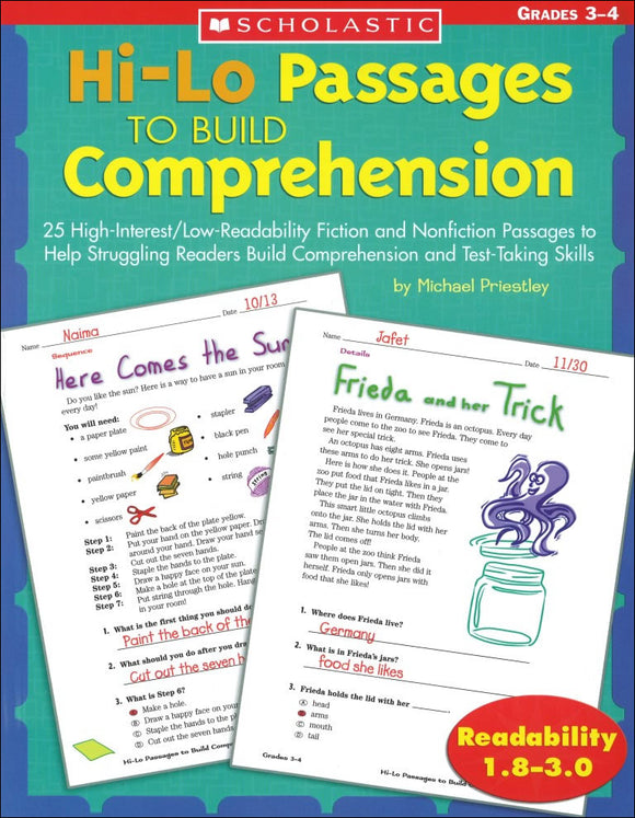 Hi-Lo Passages to Build Comprehension: Grades 3-4 </br> Item: 548878