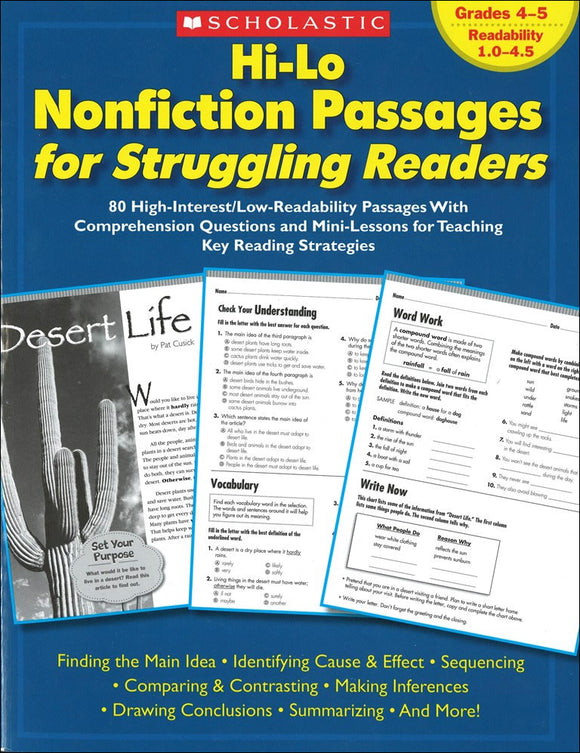Hi-Lo Nonfiction Passages for Struggling Readers: Grades 4-5 </br> Item: 694971