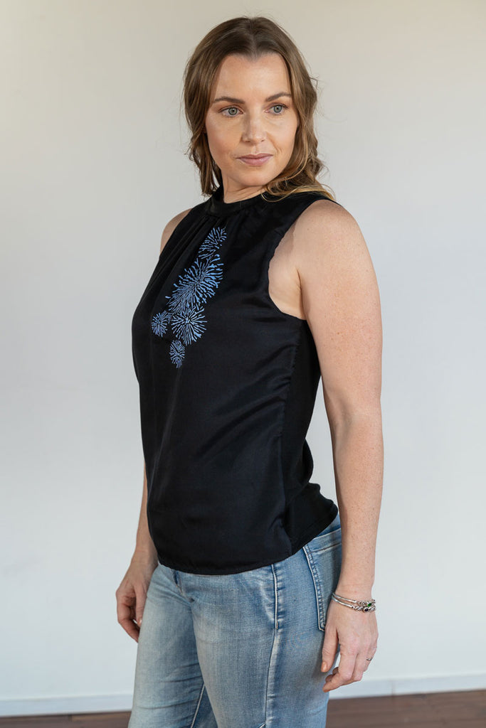 Celebration Print Merino and Cotton Silk Top in Black
