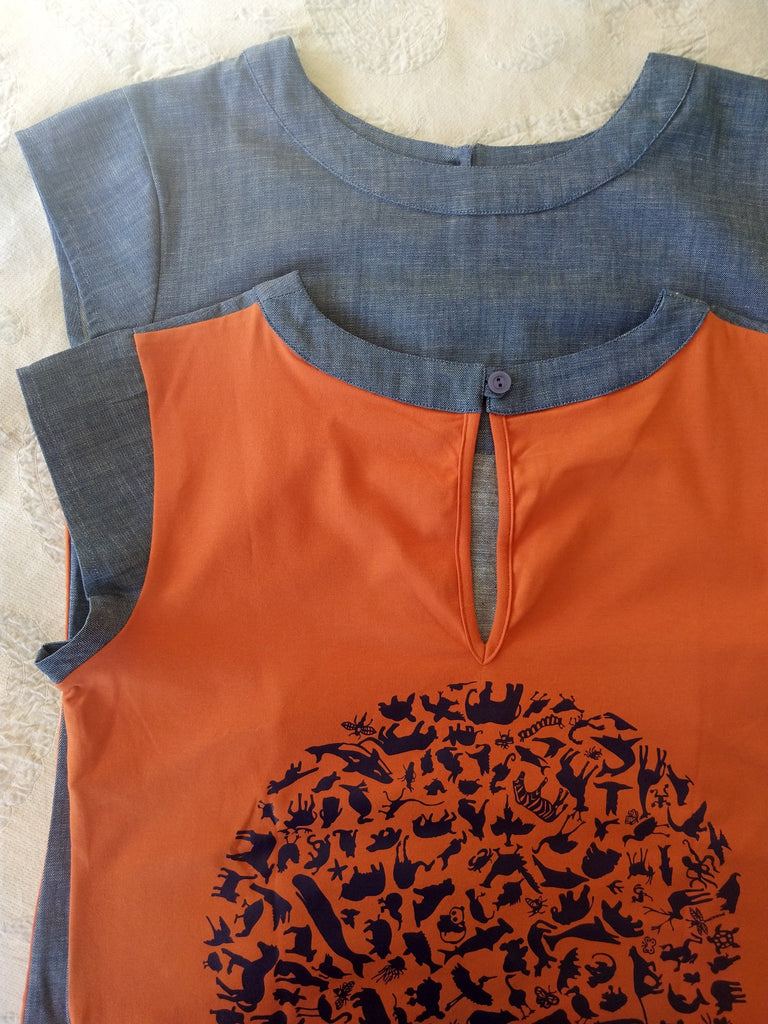 Linen and stretch cotton top with printed back