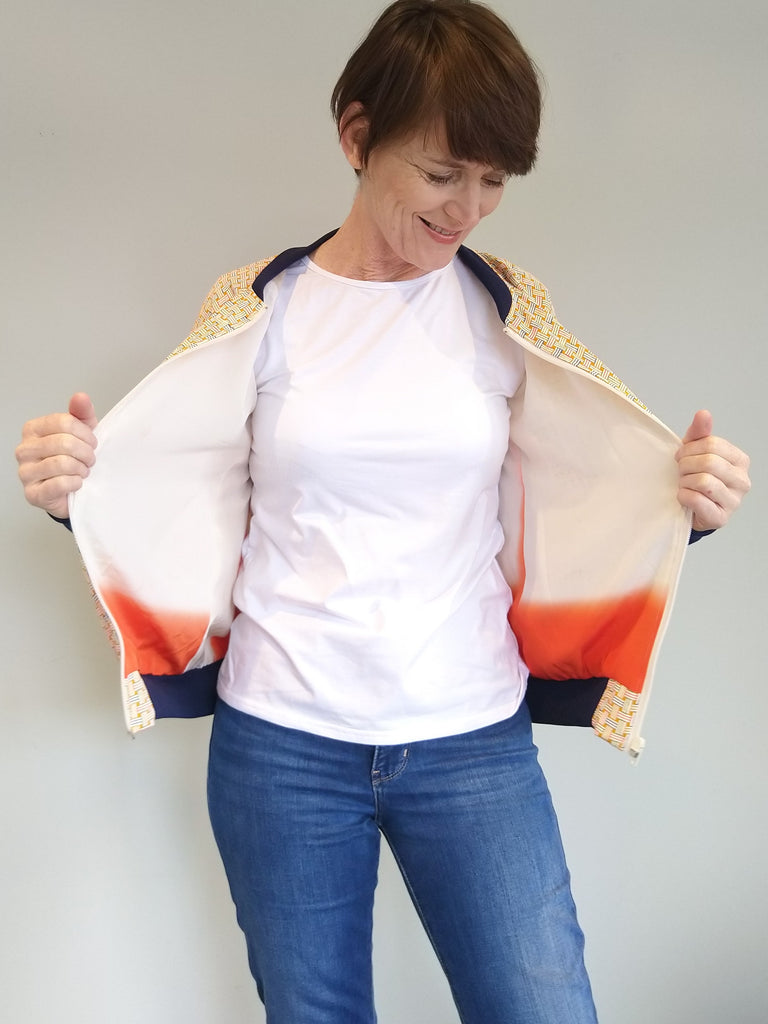 Bomber Jacket in Vintage Silk - Delicate weave pattern and navy trim