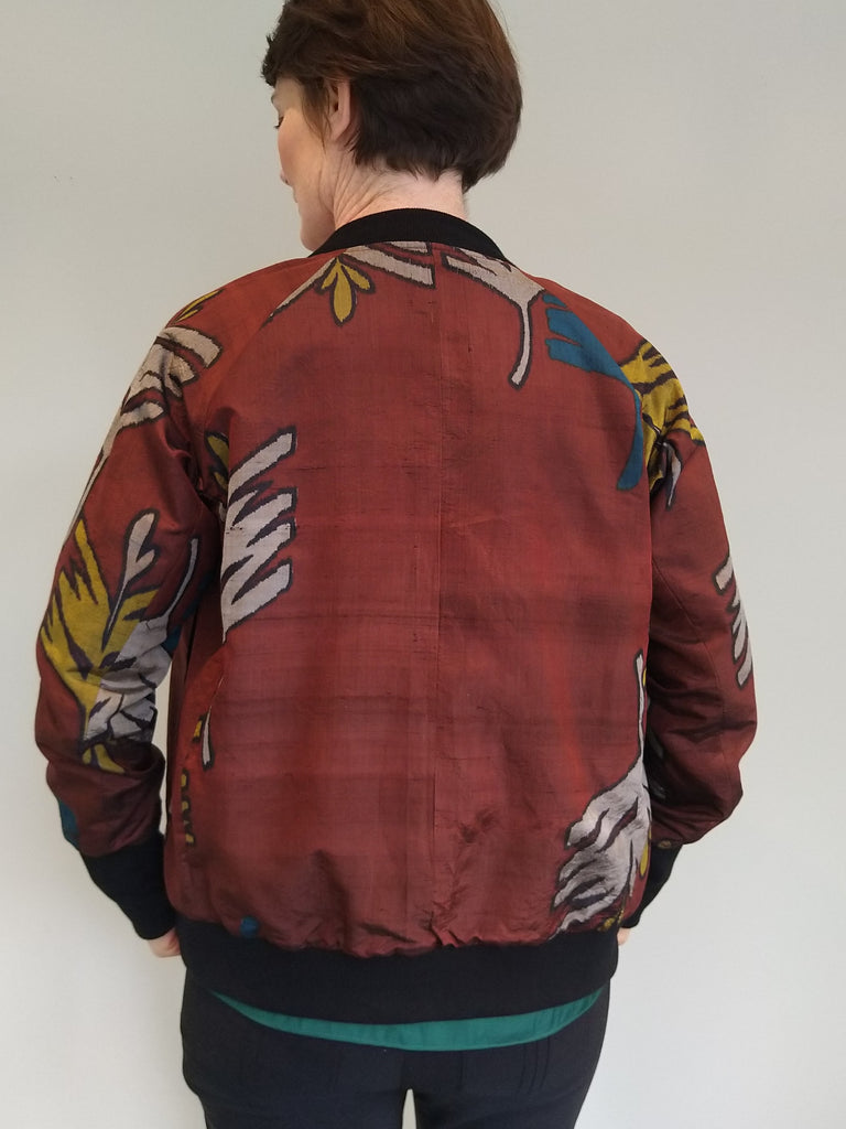 Bomber Jacket in Vintage Silk - Bronze