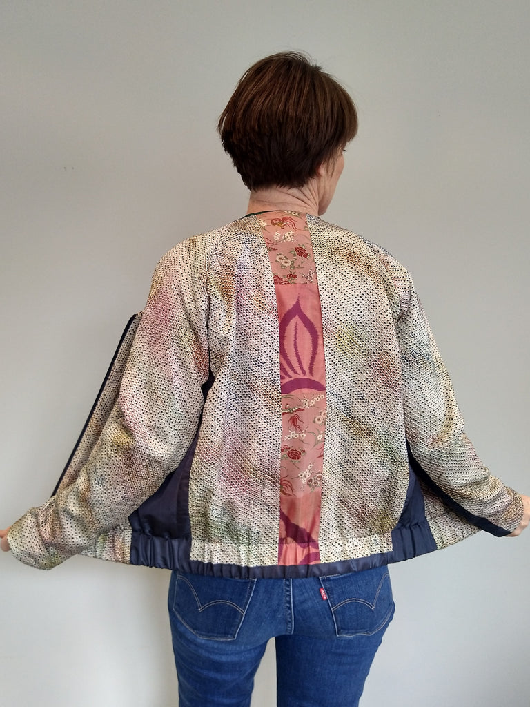 Bomber Jacket in Vintage Silk with V-Neck - Shibori dyed silk with feature panel
