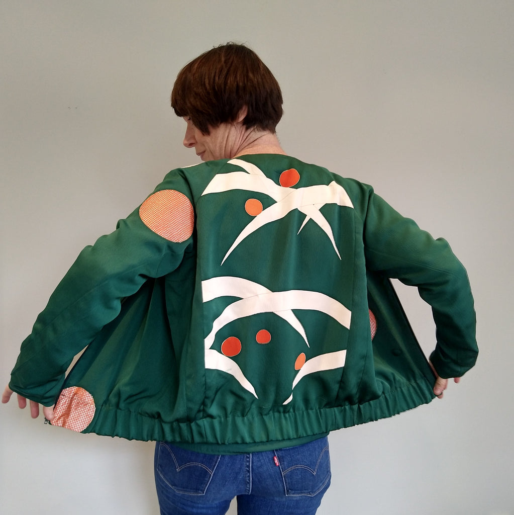 Bomber Jacket in Vintage Silk with V-Neck - Emerald Green Small