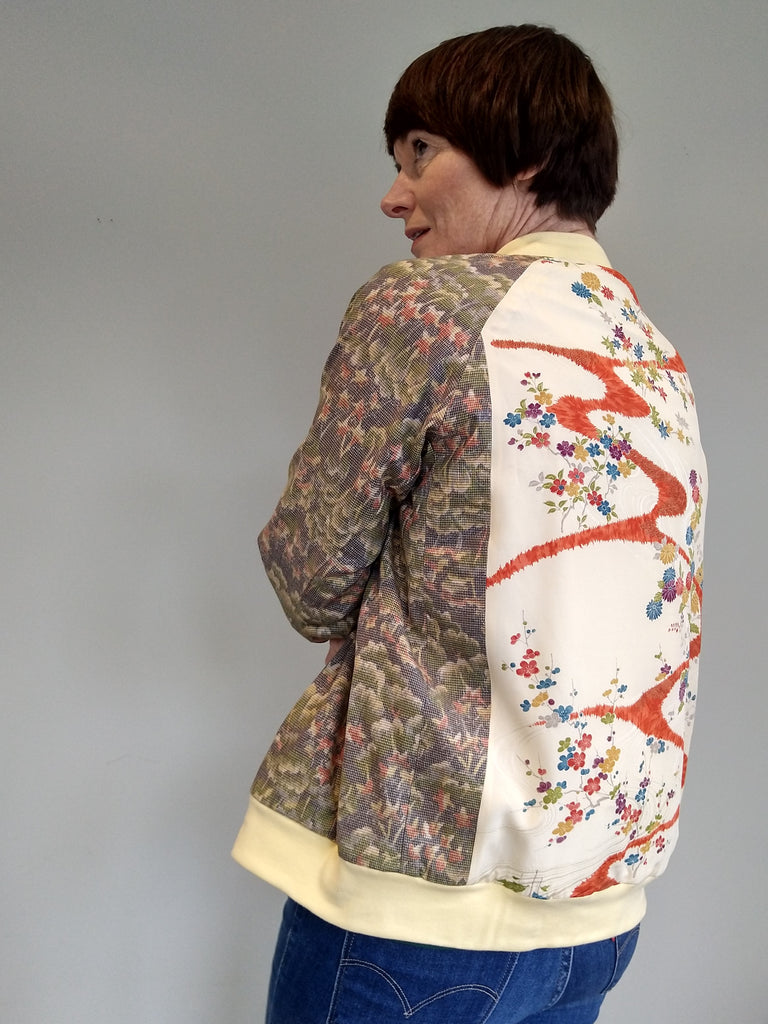 Bomber Jacket in Vintage Silk - Pale Khaki coral and lemon