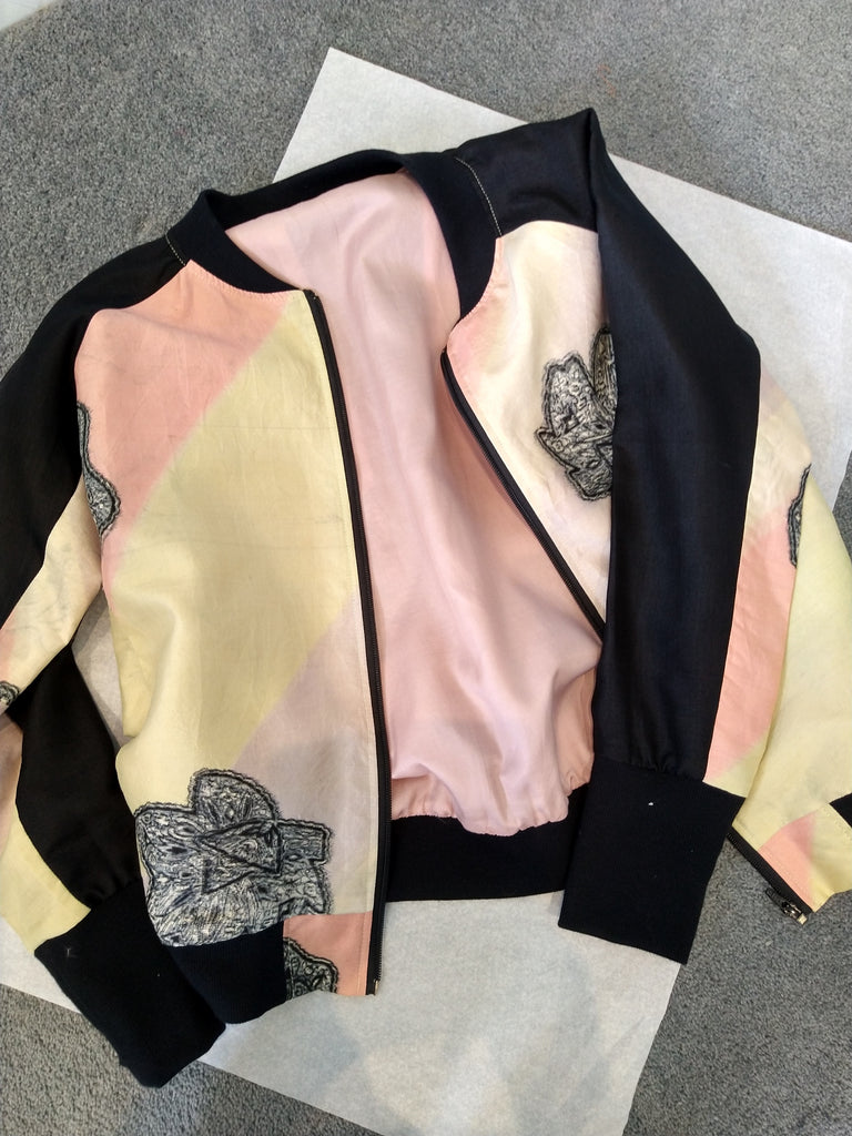 Bomber Jacket in Vintage Silk - Pastel and Black
