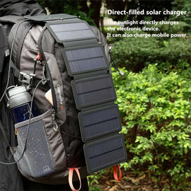 Folding Solar Charger. Lightweight 10 Watts with 5 Folding Panels