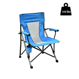 350 LBS capacity folding chair with cup holder and carry bag