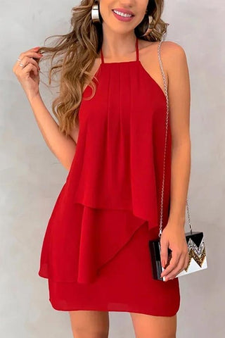 Halter Backless Plain Sexy Casual Dresses