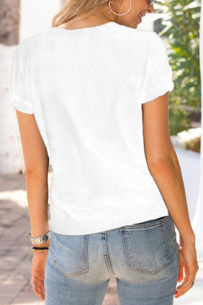 Round Neck  Hollow Out Plain T-Shirts