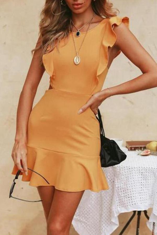 Fungus Halter Ruffle Strap Dress