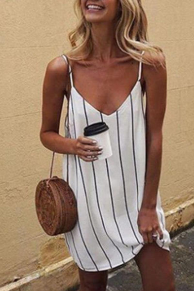 Spaghetti Strap  Backless  Striped  Sleeveless Casual Dresses