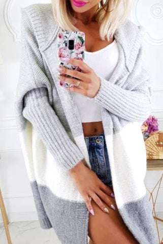 Casual  Hat Collar Pure Color Long Sleeve Cardigan