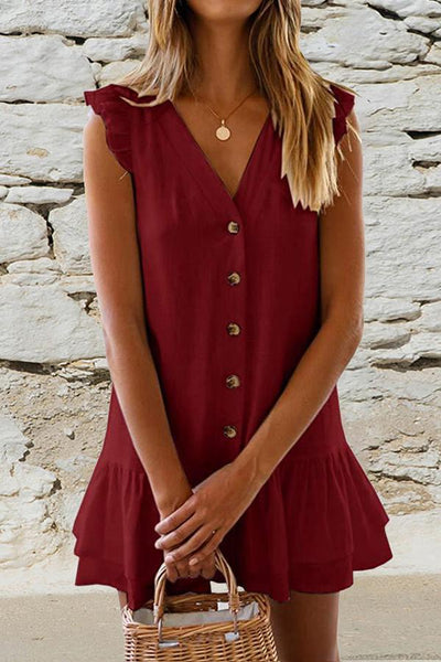 V-Neck Button Ruffled Mini Dress