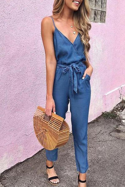Summer Spaghetti Strap Wrap Top Tie Waist Casual Jumpsuit