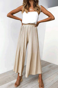 Casual Fashion Plain Wide-Leg 3/4 Pants