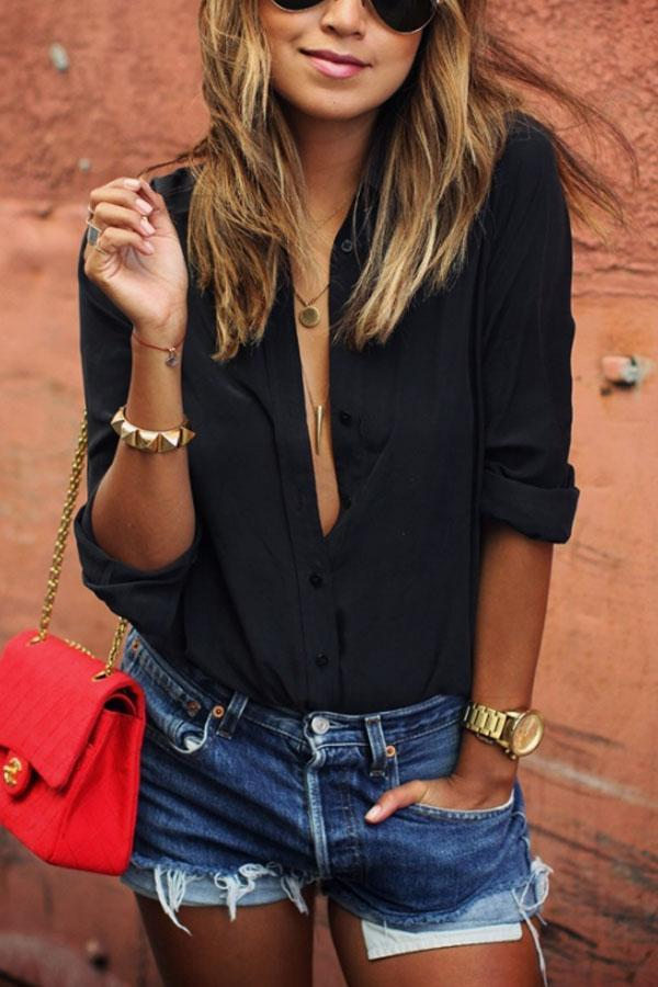 Turn Down Collar  Single Breasted  Plain  Blouses