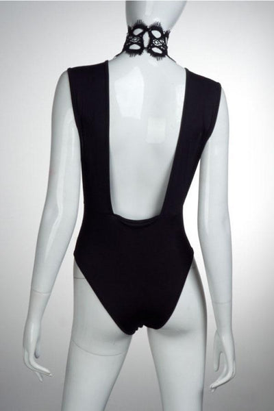 High Neck  Backless See Through  Hollow Out Plain Bodysuits