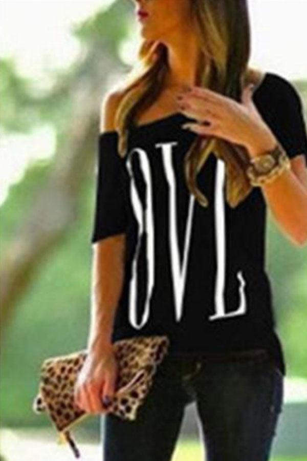 One Shoulder  Letters T-Shirts