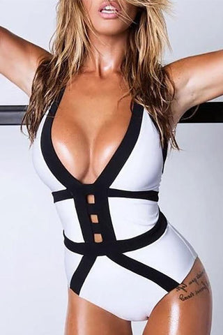 Halter  Contrast Trim  Contrast Stitching  Color Block One Piece