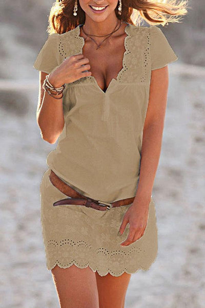 V Neck  Hollow Out Plain  Short Sleeve Casual Dress