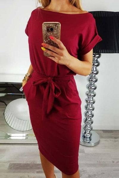Round Neck  Belt  Plain  Short Sleeve Bodycon Dresses
