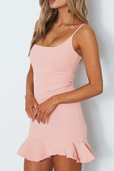 Spaghetti Strap  Asymmetric Hem Backless  Tiered  Plain Casual Dresses