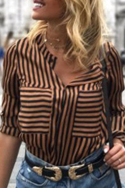 V Neck  Patch Pocket  Striped  Blouses