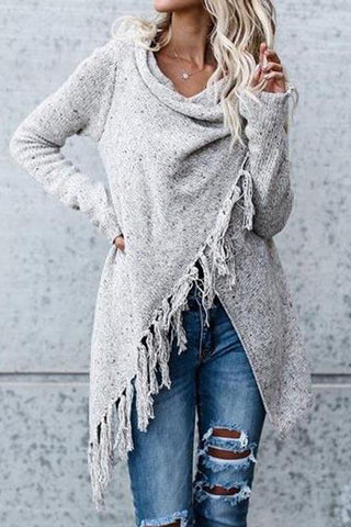 Knit Cardigan Irregular Tassel Shawl Sweater