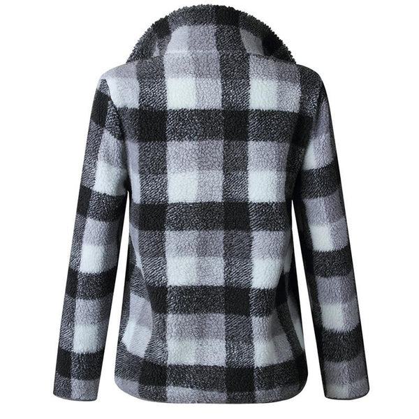 Band Collar  Zipper  Gingham Outerwear