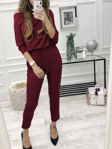 Casual Pure Colour Long Sleeve Belted Jumpsuits
