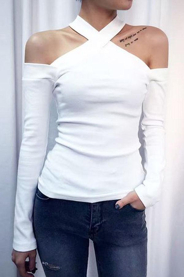 Fashion Strapless Long-Sleeved T-Shirt