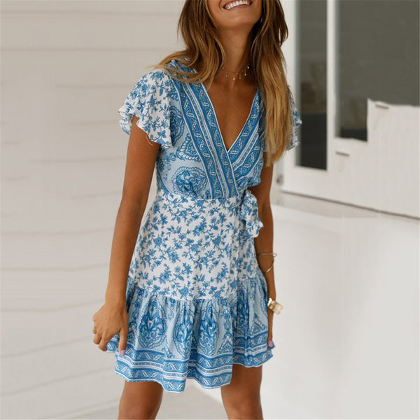 Sexy V Collar Printed Short Sleeved Dress