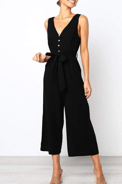 Spaghetti Strap  Backless Decorative Buttons  Plain  Sleeveless Jumpsuits