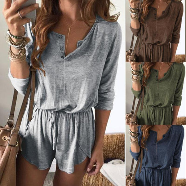 Casual V Collar Plain Loose Defined Waist Jumpsuit