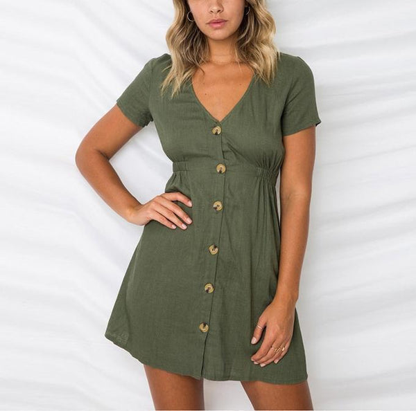 Casual Sexy Deep V   Neck Pure Color Single Breasted Mini Dresses