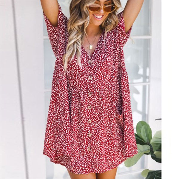 Fashion V Collar Loose Floral Printed Vacation Dress